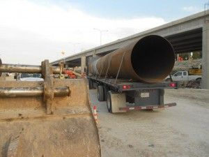 road boring, carbon steel pipe casing on semi truck trailer